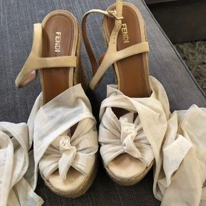 Fendi Tulle and Suede Ankle Wrap Espadrille Wedges